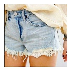 Free People Button Fly Daisy Chain Lace Jean Short